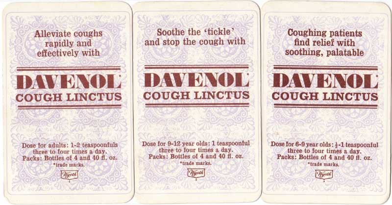 Reverse of Davenol Cough Linctus Happy Families published by Wyeth Pharmaceuticals