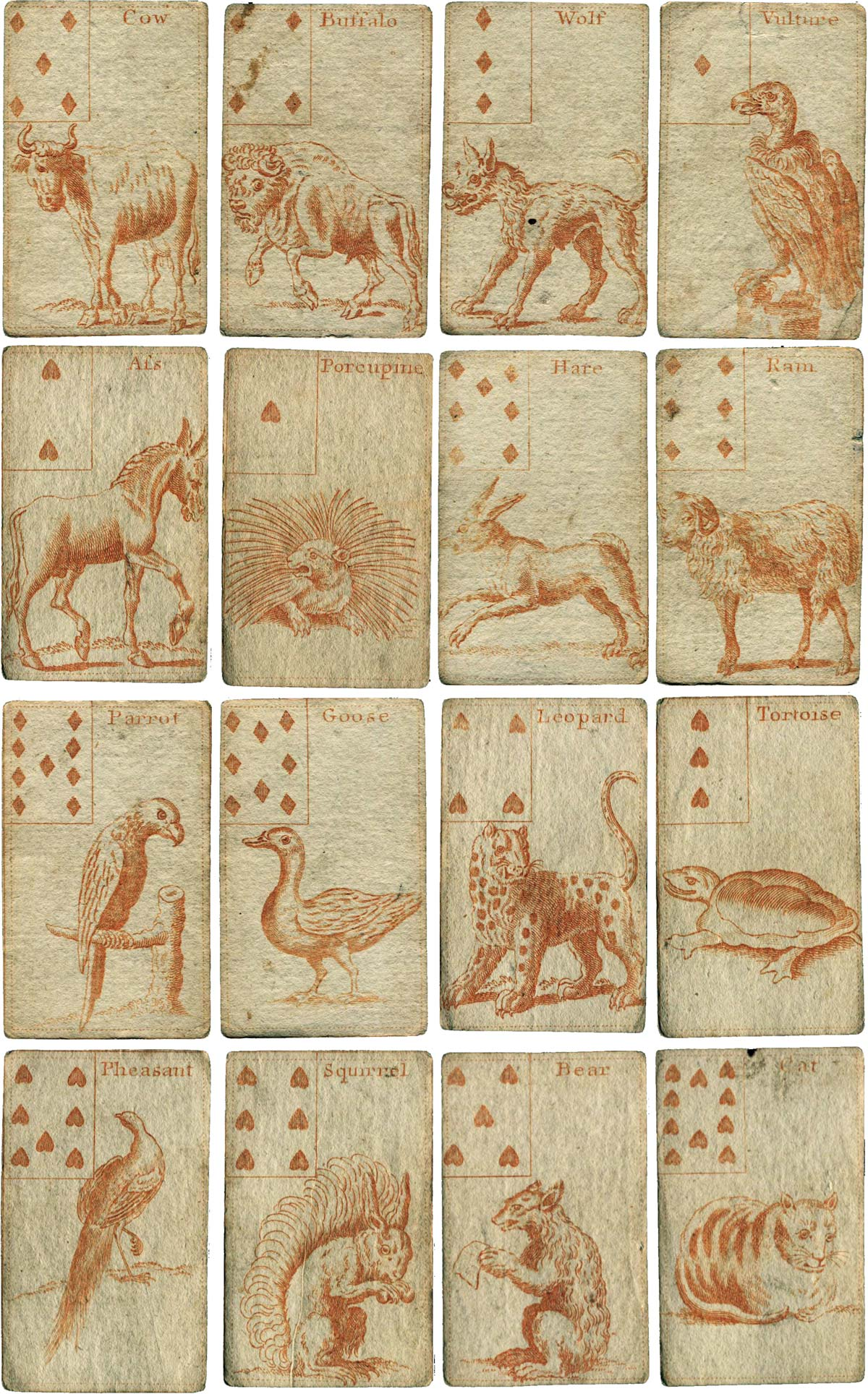 "Hand-coloured Forrest Cards produced for ""Young Gentlemen & Ladys who are Lovers of Ingenuity"", c.1750s"