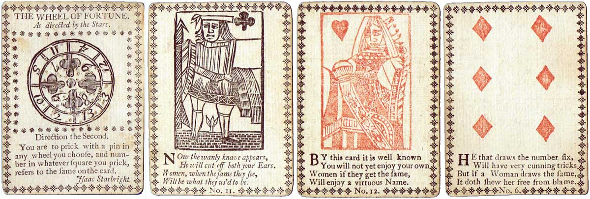 Fortune Telling cards probably published in London, c.1770