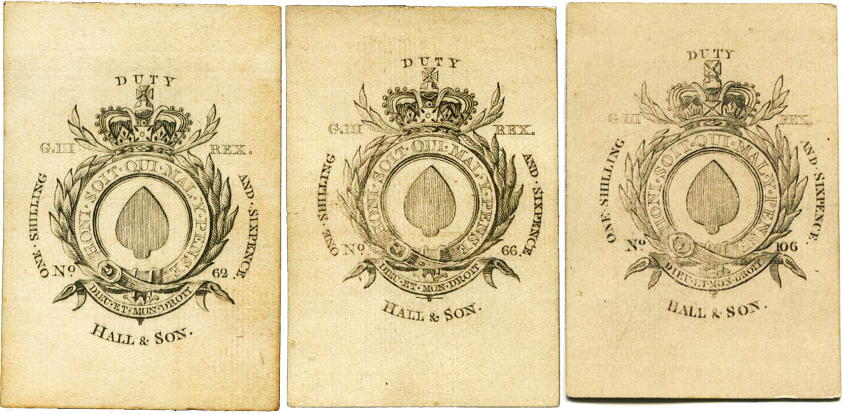 Hall & Son George III garter duty aces of spades, c.1810