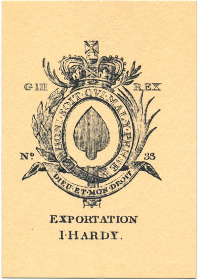 Facsimile edition of 19th century I. Hardy Exportation deck reproduced c.1990s