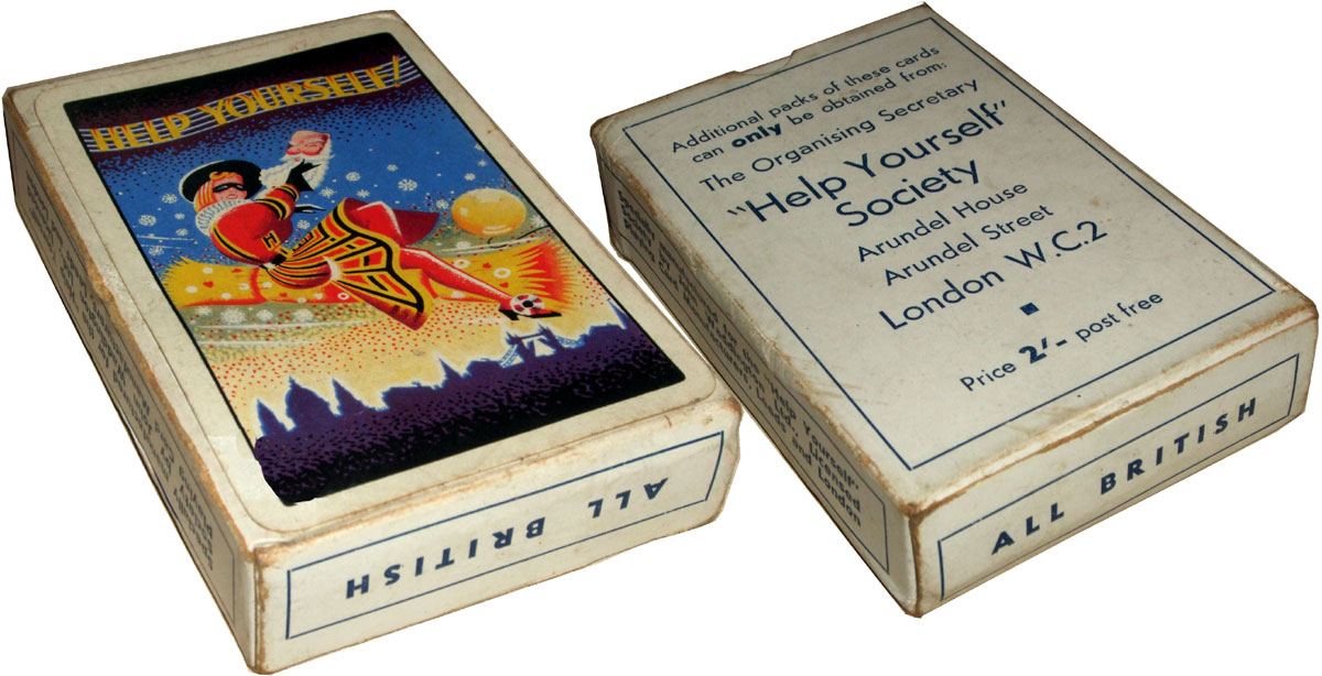 """pack specially made for the """"Help Yourself"""" Society, Arundel House, Arundel Street, London WC2 by John Waddington Ltd., 1930s"""