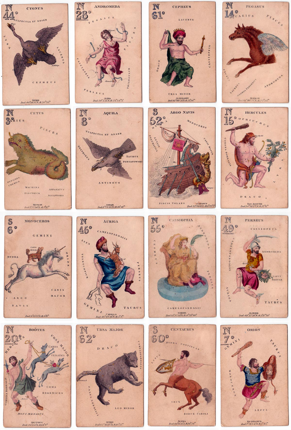 Hodges' astronomy cards carrying diagrams of constellations and their pictorial representations
