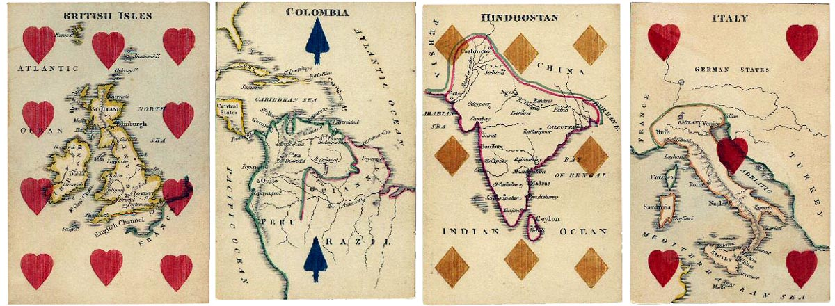 Map cards with stencilled suit symbols