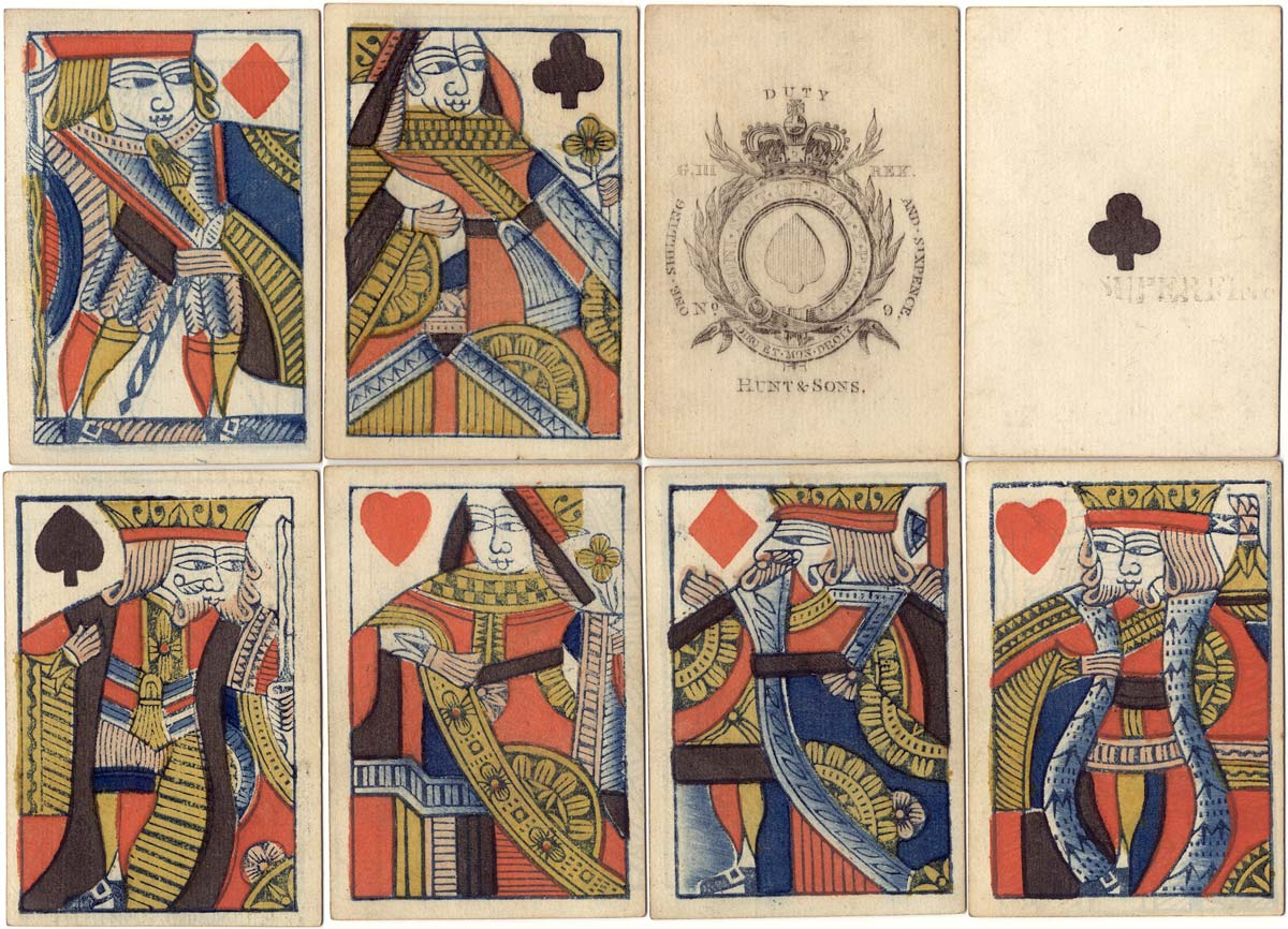 'Superfine' woodblock and stencil playing cards manufactured by Hunt & Sons, c.1820