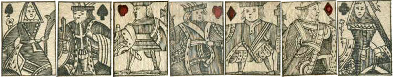 Miniature court cards from illustrated playing cards, c.1740