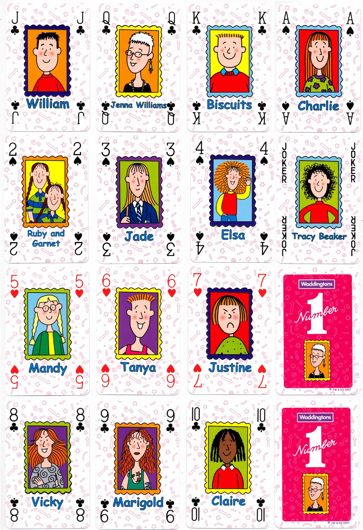 """Jacqueline Wilson"" playing cards published by Winning Moves UK Ltd, © Jacqueline Wilson & Nick Sharratt, 2007"