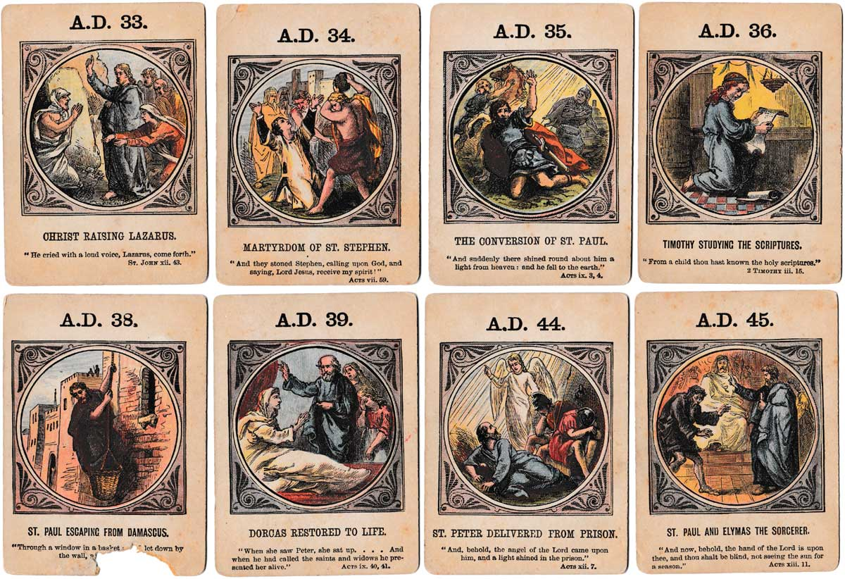 Anno Domini biblical card game depicting New Testament history, published by John Jaques & Son, c.1875