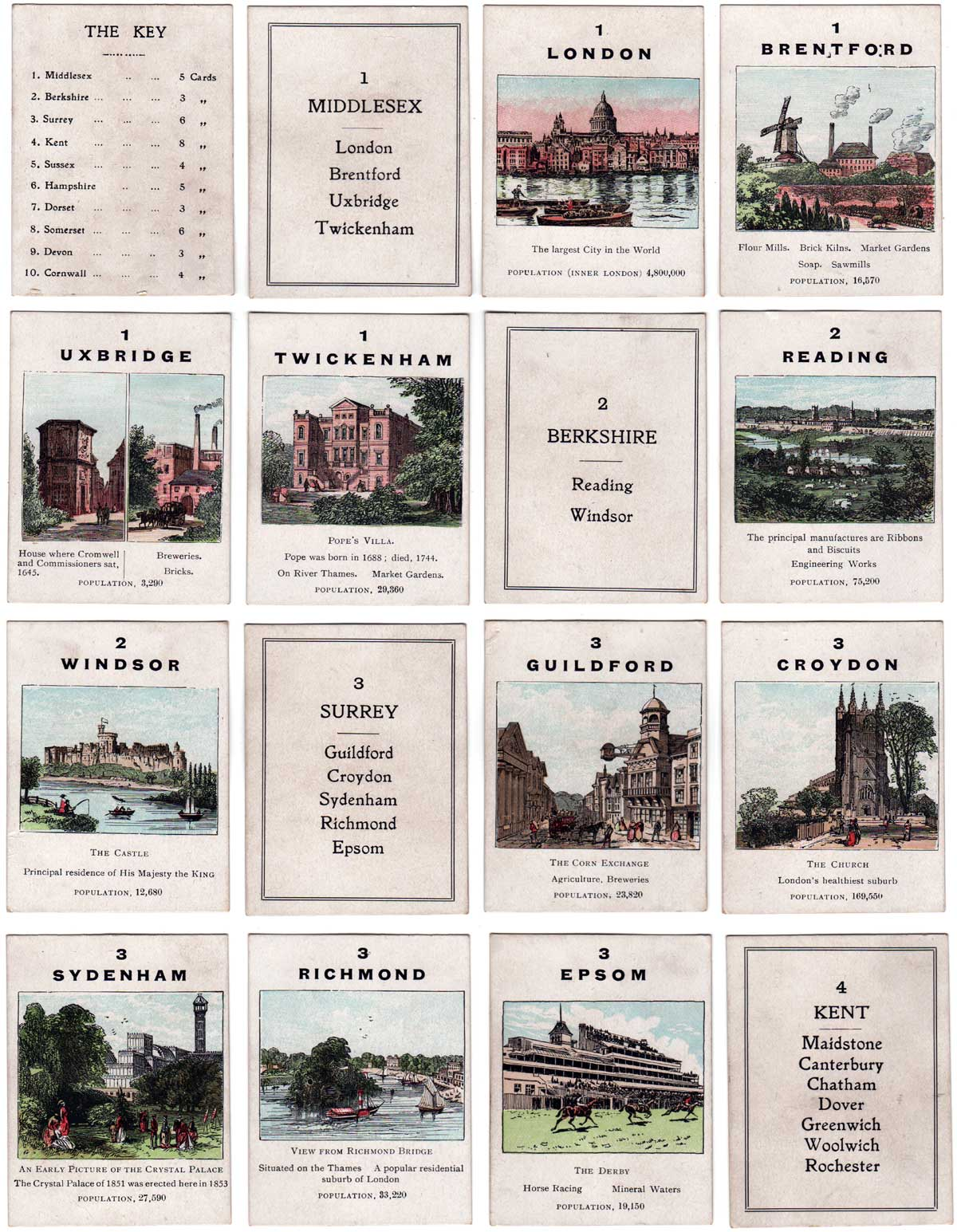 Jaques' Counties of England card game, 4th Series (Southern Counties), c.1910