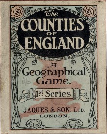 Jaques' Counties of England card game box, c.1910
