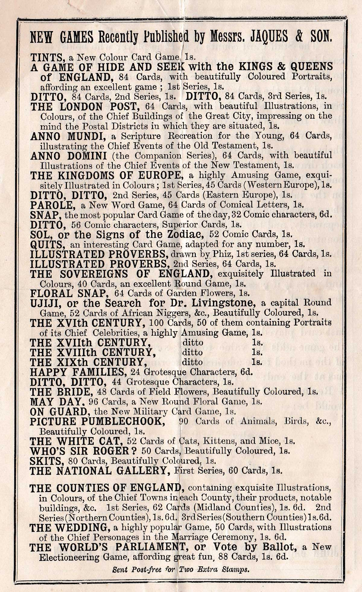 list of new games, c.1875