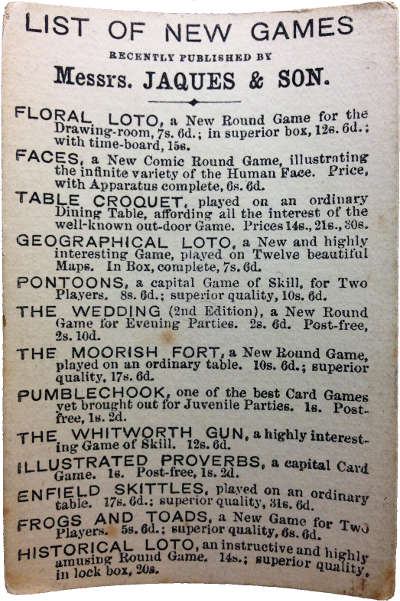 extra card with list of new games, c.1880