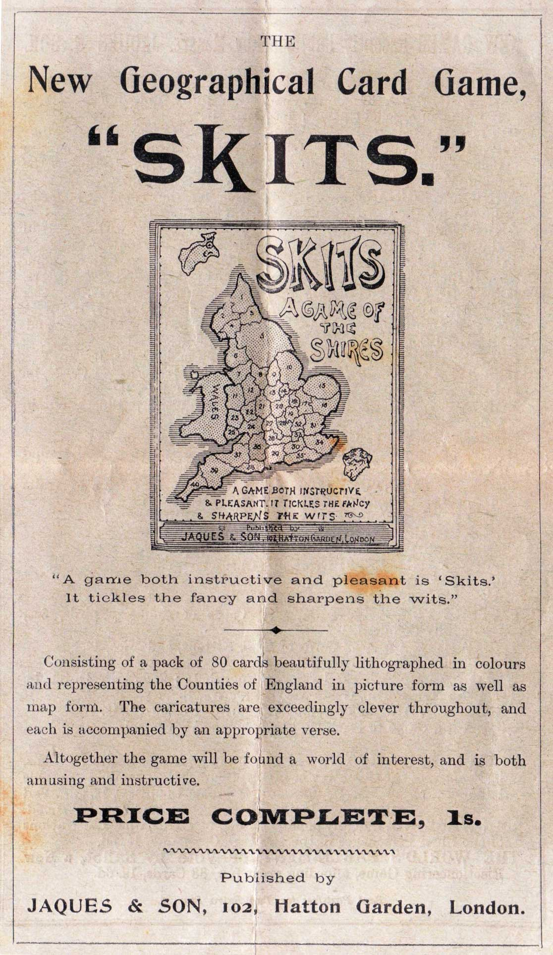 Skits leazflet from inside National Gallery game, Jaques & Son, c.1900