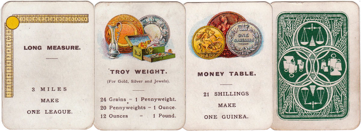 """""""Weights and Measures"""" card game published by John Jaques & Son, Ltd., London, c.1890"""