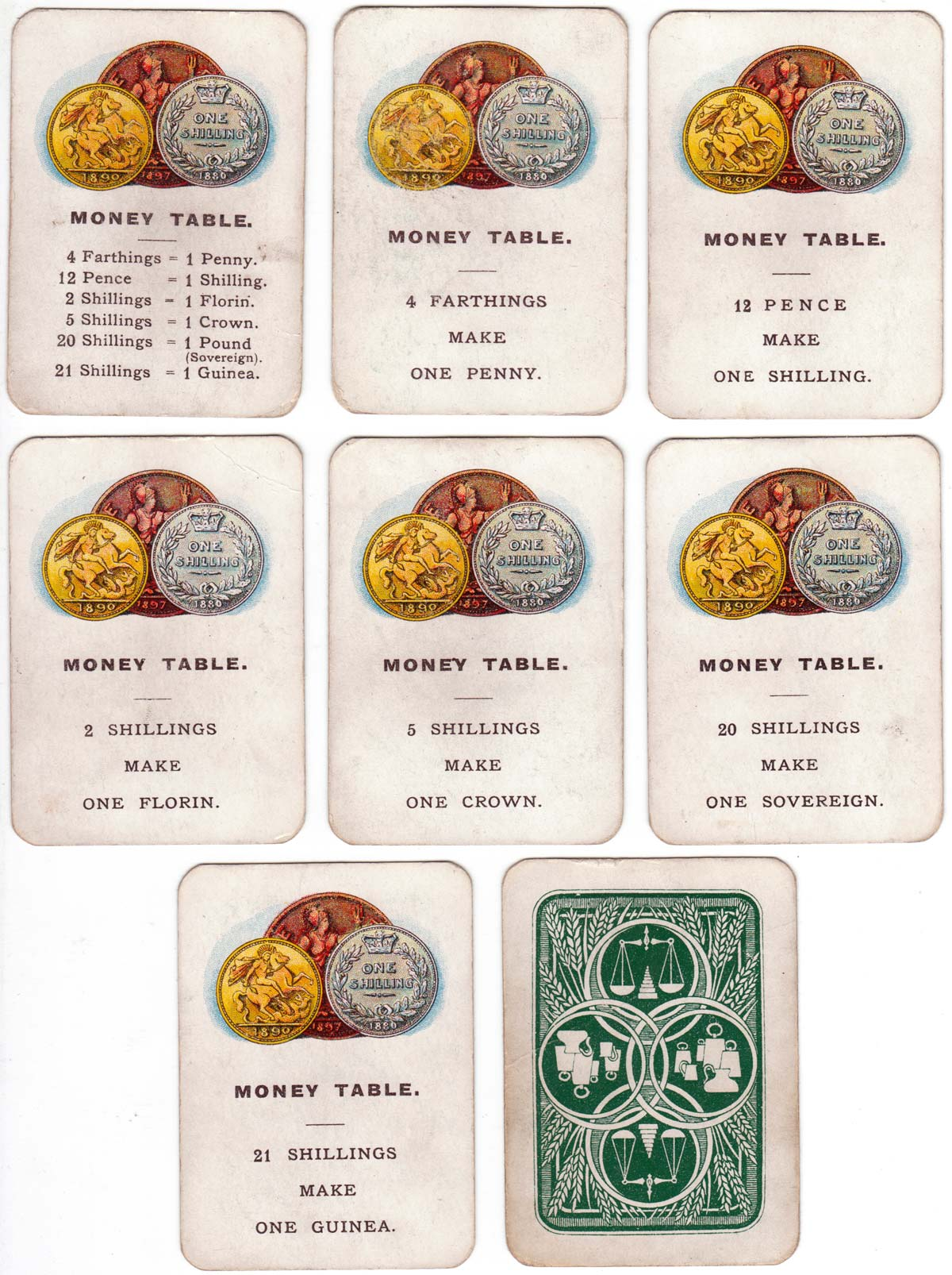Weights and Measures card game published by John Jaques & Son, Ltd., London, c.1890