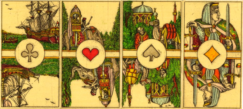 4 Aces from an uncut sheet of hand-made playing cards by Karl Gerich, '4 corners of the World', 1984