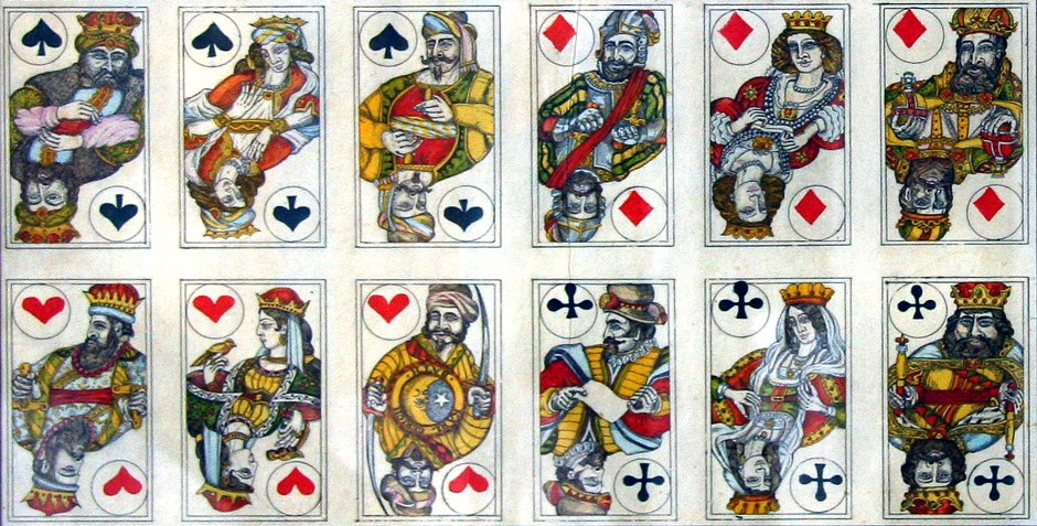 cards from an uncut sheet of hand-made playing cards by Karl Gerich, '4 corners of the World', 1984