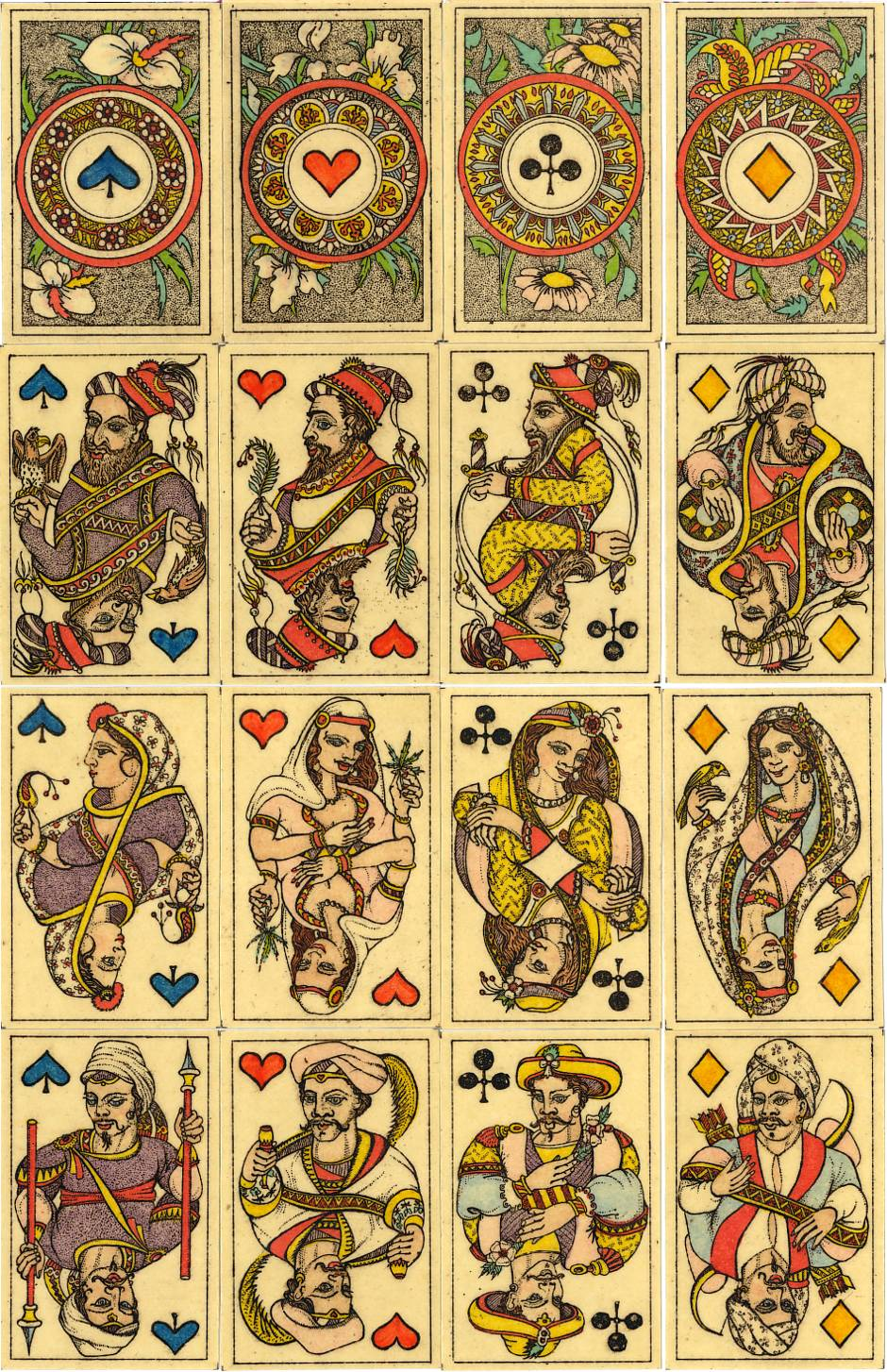 "4 Aces and court cards from Karl Gerich's ""Patience Indien No.16"", published in 1991"