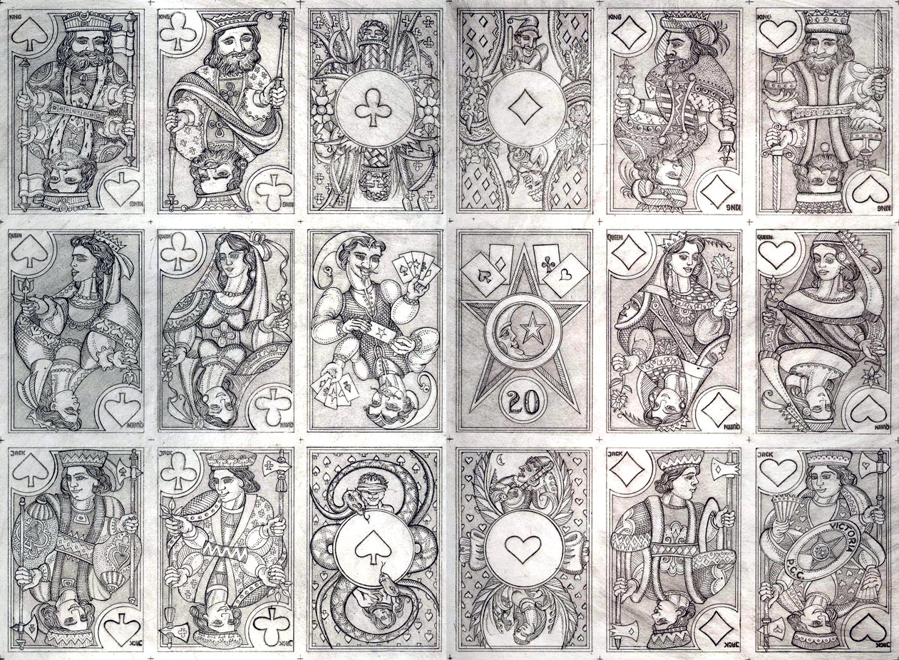an uncoloured proof sheet of Karl Gerich's No.20 'Rouennais A' playing cards, first published in 1990