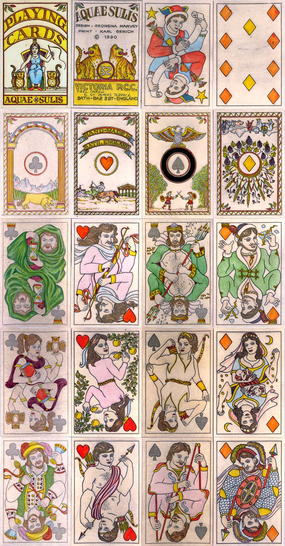 'Aquae Sulis' playing cards no.32, designed by Georgina Harvey and printed from copperplate etching by Karl Gerich trading as Victoria P.C.C., 1990.
