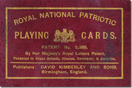 detail of box from Kimberley's Royal National Patriotic playing cards