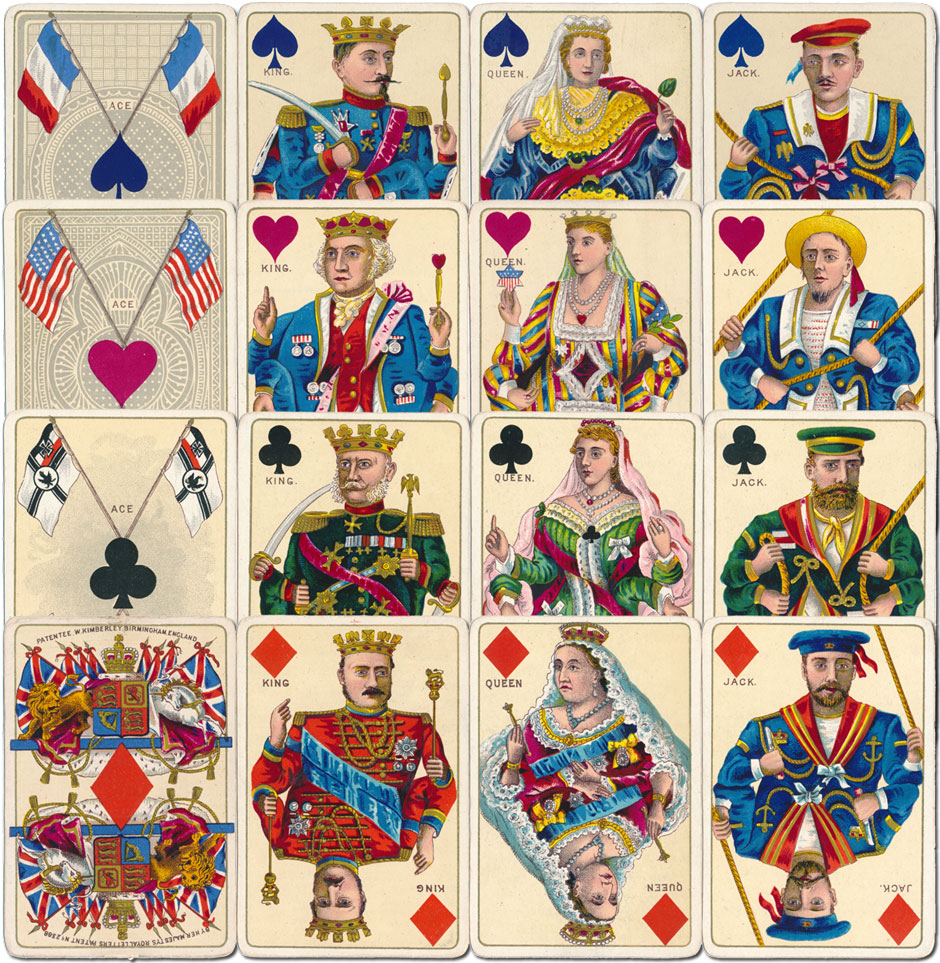 David Kimberley & Sons' Royal National Patriotic playing cards, first edition c.1892-3