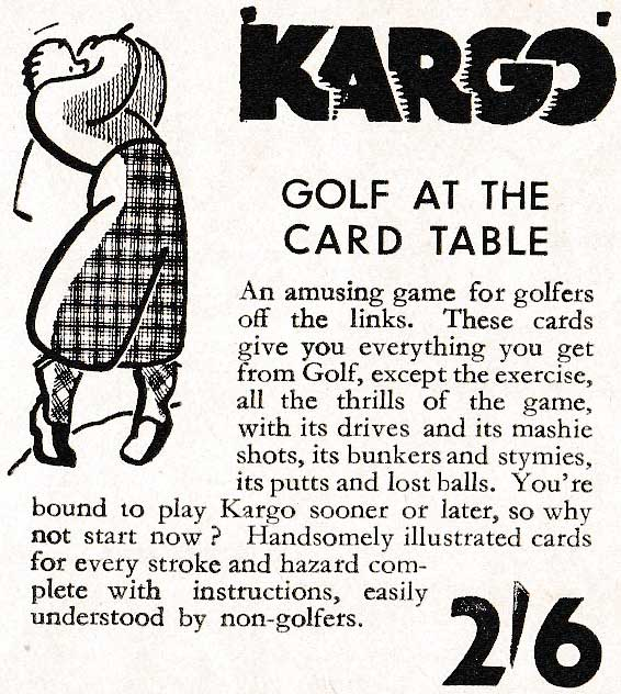 Advertisement for Kargo or Card Golf distributed by Kum-Bak Sports Toys & Games