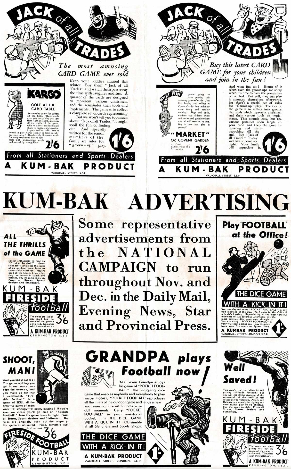 mail shot flyer from Kum-Bak in the mid 1930s
