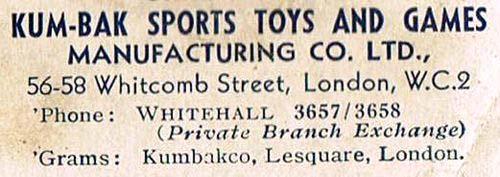 Kum-Bak address label from the mid 1920s