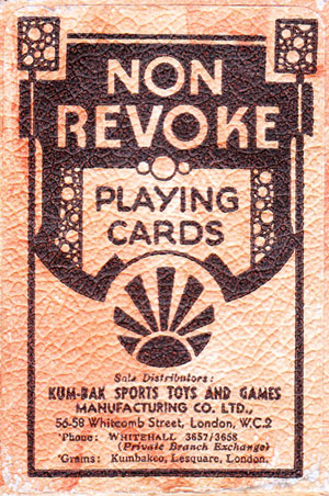 Non-Revoke Playing Cards manufactured by Universal Playing Card Co Ltd for Kum-Bak Sports, Toys & Games, c.1930
