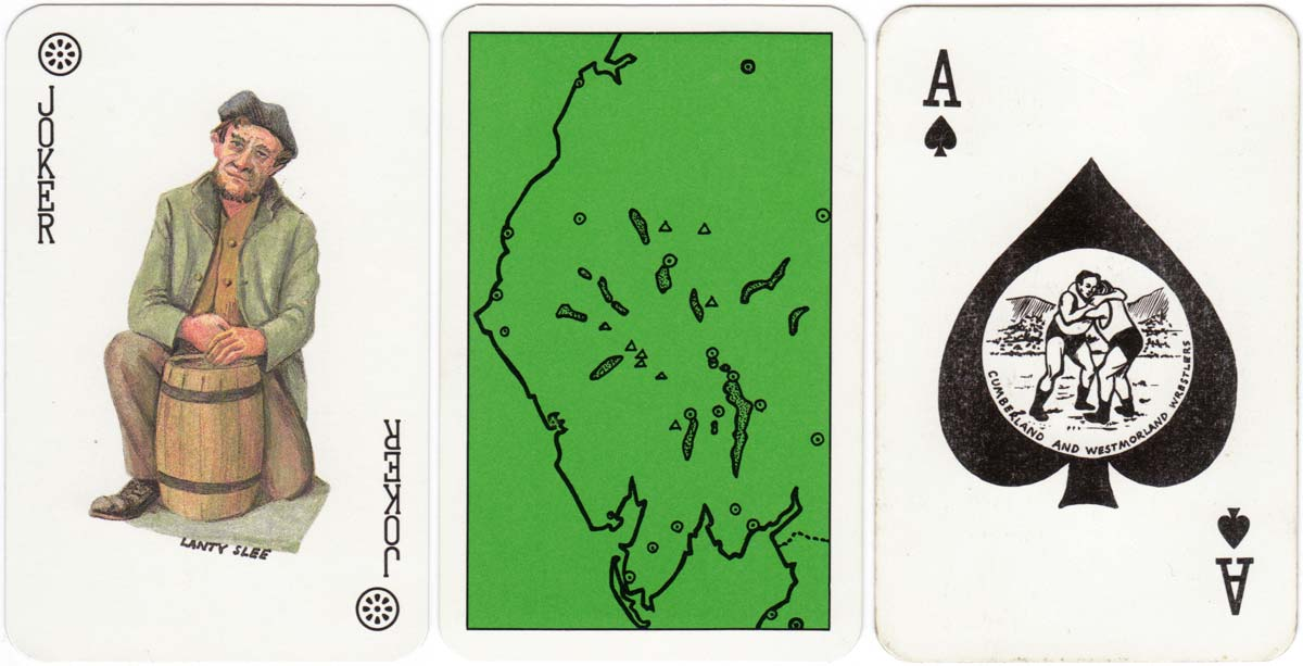 Lakeland playing cards designed by Stuart Lawrence depicting famous characters & views of England's Lake District, c.1988