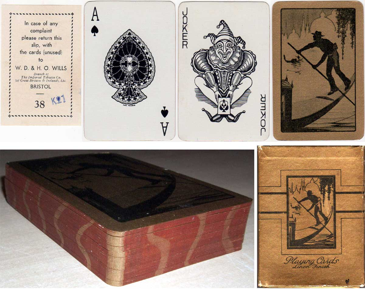 boxed set of playing cards manufactured by Waddingtons for the W.D & H.O Wills gift scheme, 1930s