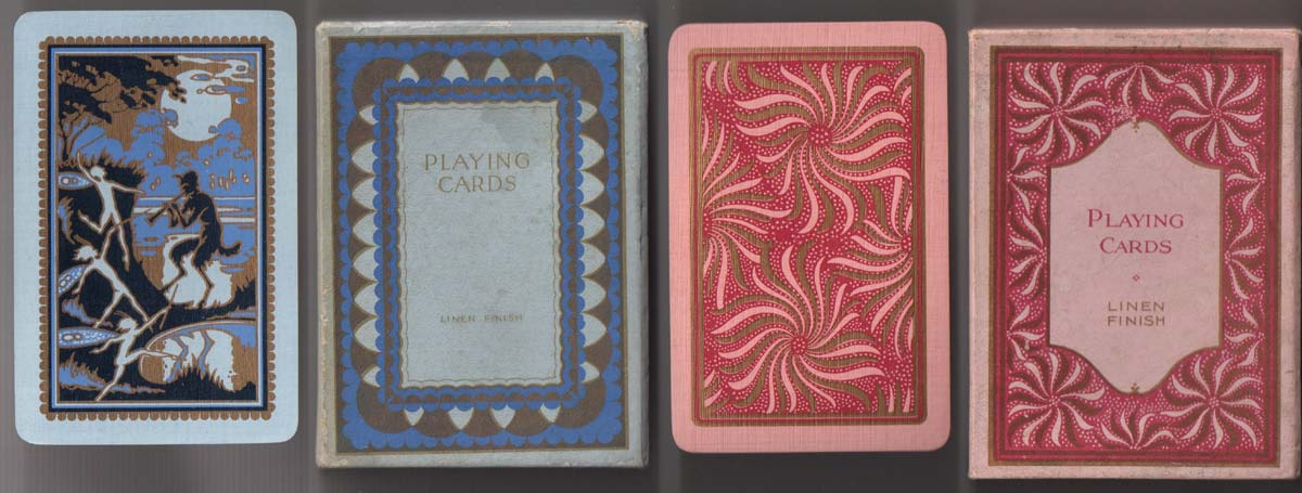 Playing cards printed by Waddingtons for the Wills gift scheme, 1933-34. Left one with blue and gold edges