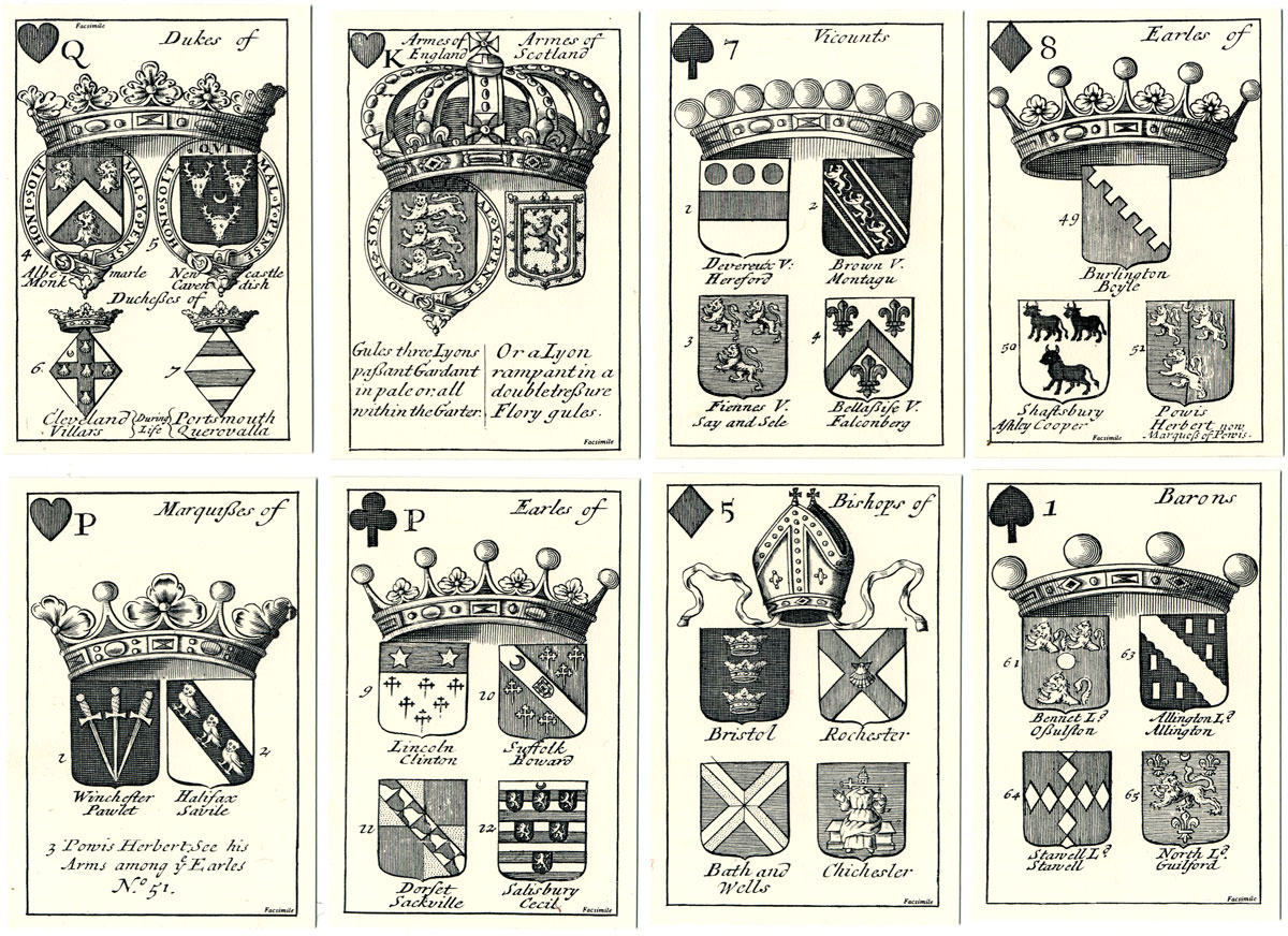 Arms of English Peers Playing Cards, 1688
