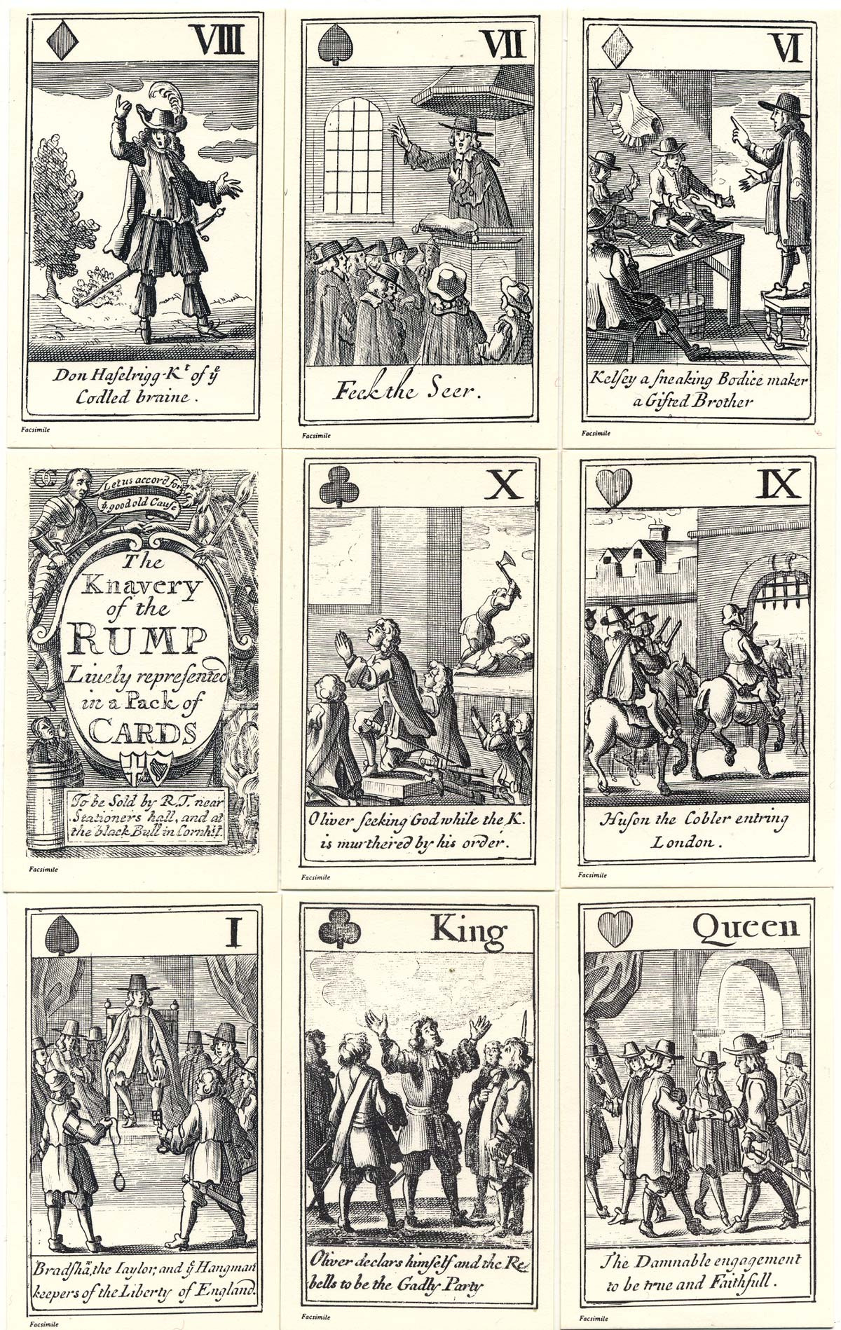 The Knavery of the Rump playing cards are a satirical portrayal of Cromwell's Government during the period 1648-53