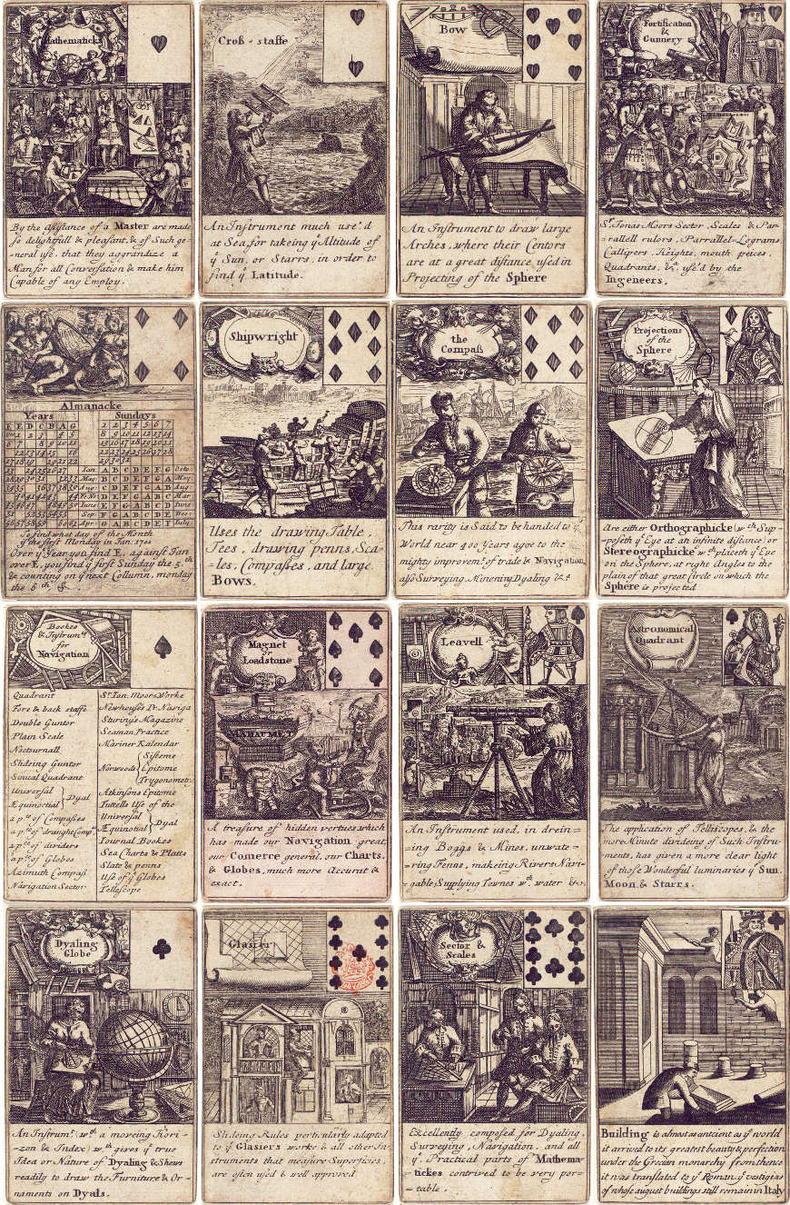 Mathematical Instruments playing cards, Tho. Tuttell, c.1700