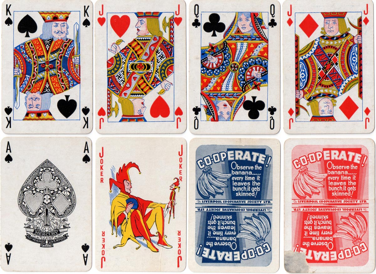 """Mercury"" playing cards produced for the Liverpool Cooperative Society, printed by the Liverpool Daily Post, c.1930"