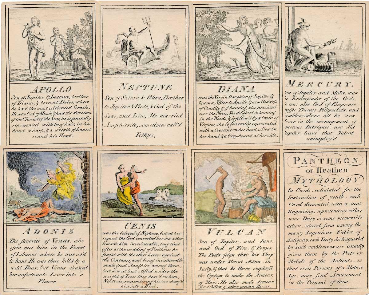 Pantheon or Heathen Mythology cards for instruction of youth, c.1770