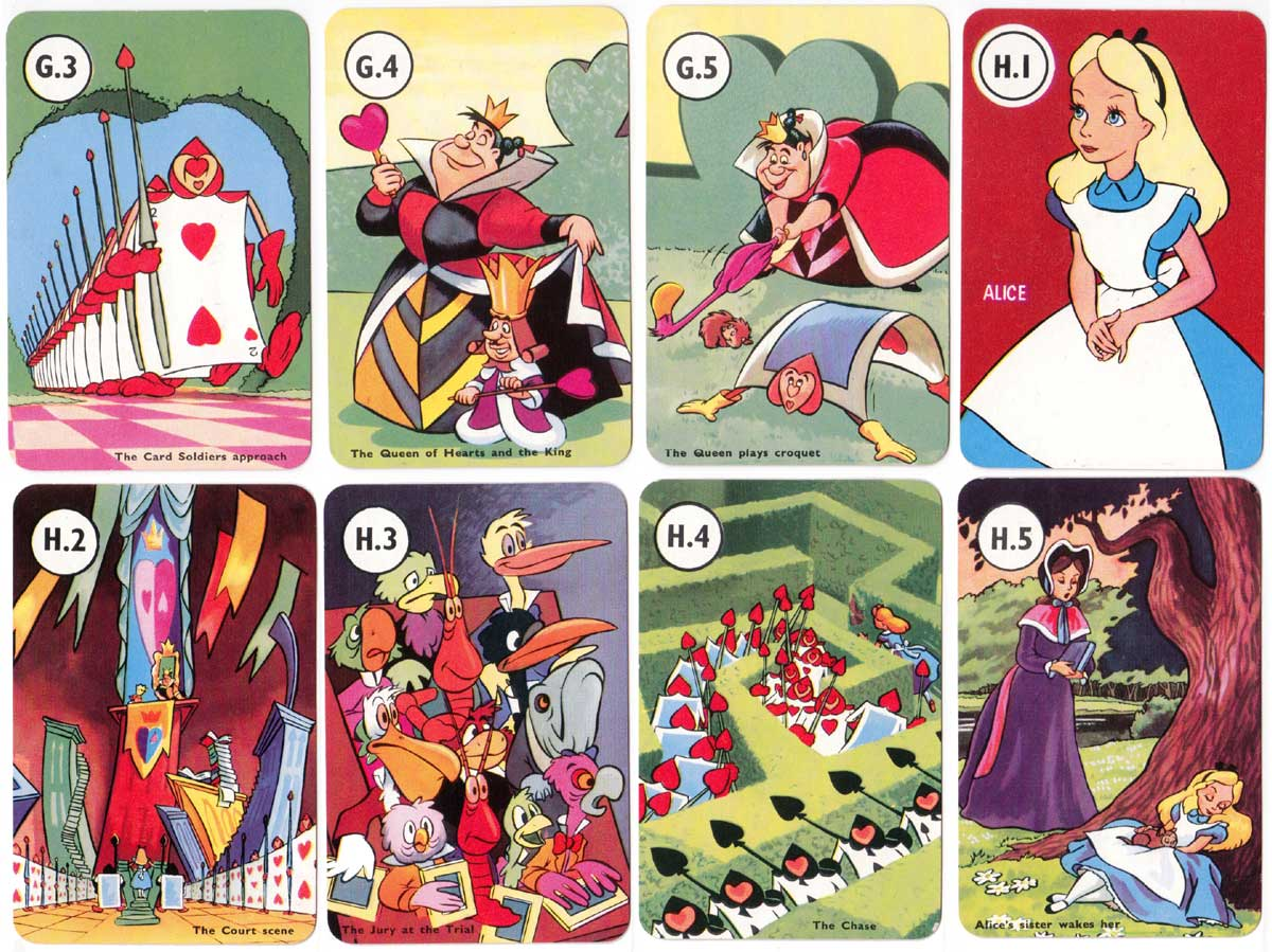 "Alice card game published by Pepys in 1952, based on the Walt Disney film ""Alice in Wonderland"""