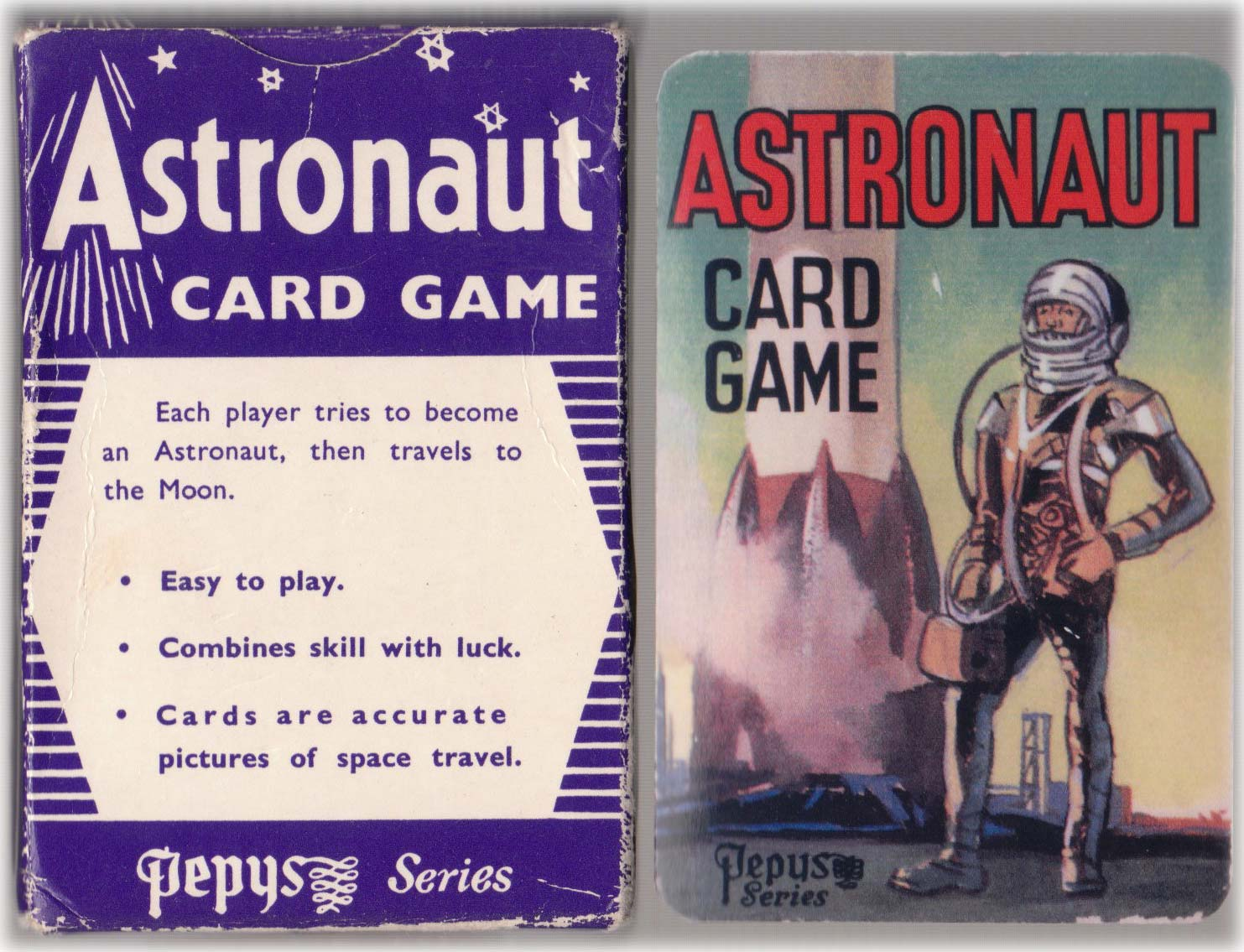 Astronaut card game published by Pepys Series (Castell Bros) with pictures of Russian and American spacecraft