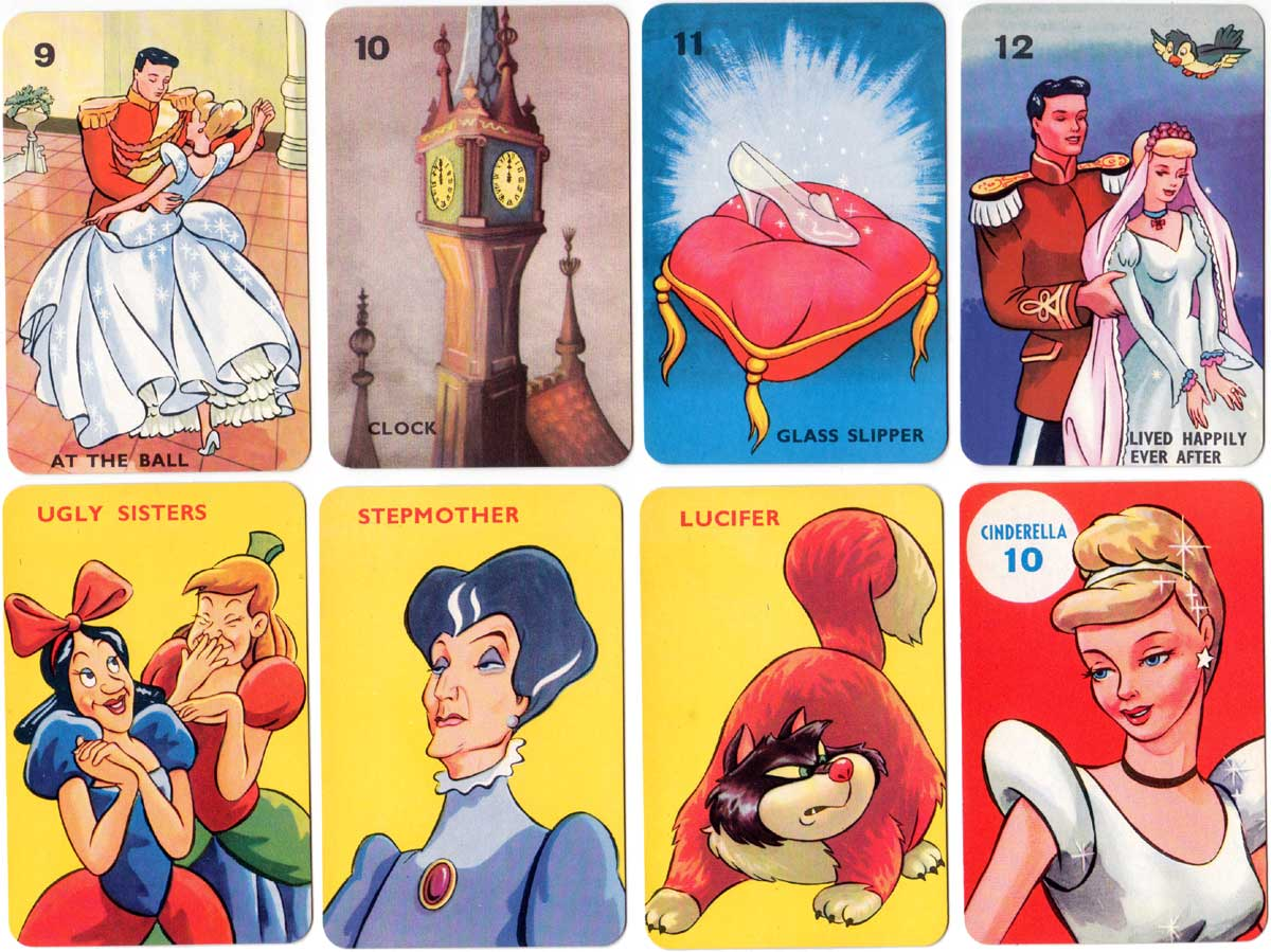 Cinderella card game, based on the Walt Disney film, published by Pepys Games, 1954