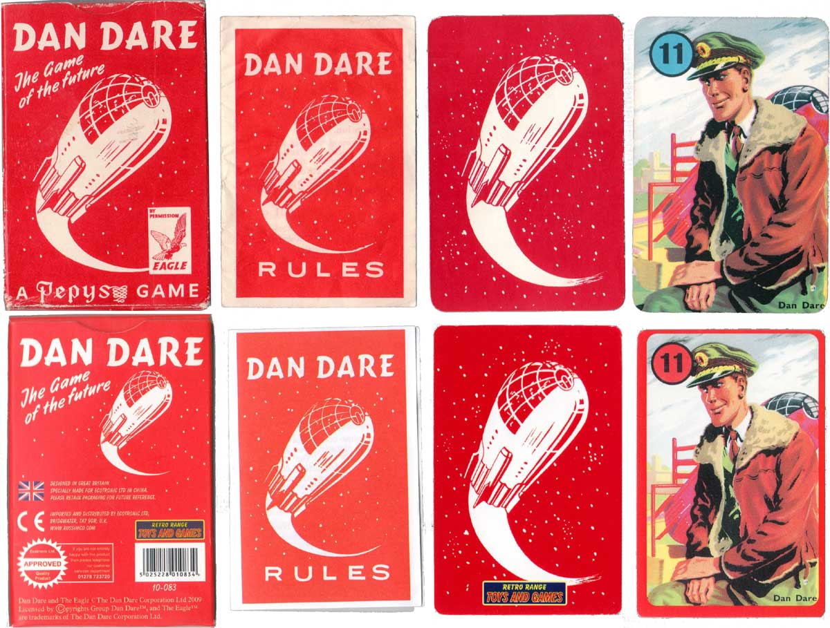 Dan Dare sci-fi card game with illustrations by Frank Hampson