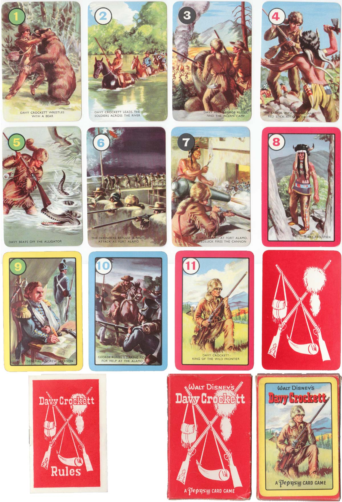 Davy Crockett card game published by Pepys Games, 1956