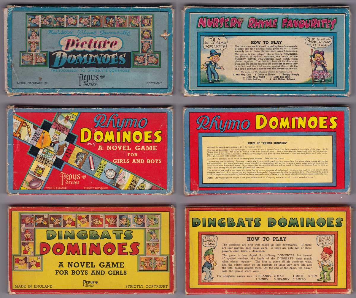 pictorial domino games published by Pepys