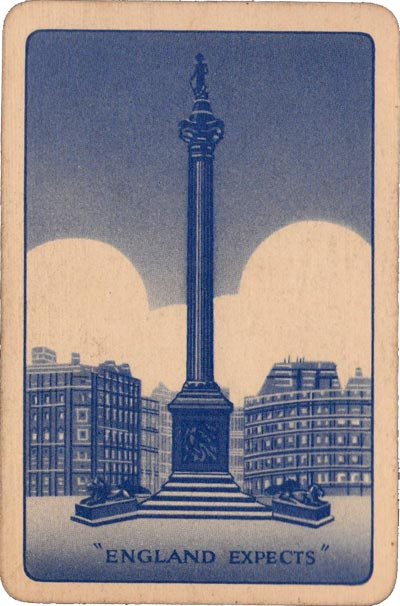 'England Expects' card game published by Pepys Games in 1940 with back design showing Nelson's Column in Trafalgar Square in London