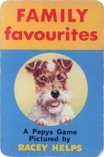'Family Favourites' card game illustrated by Racey Helps and published by Pepys Games in 1962