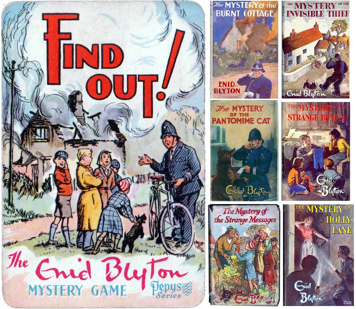 Find Out mystery card game published by Pepys, 1958 and book covers by Enid Blyton
