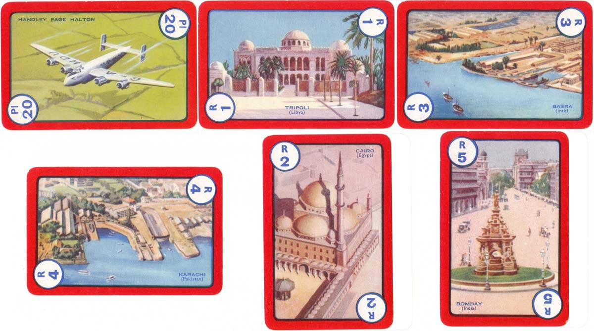 Flight card game published by Pepys, 1954
