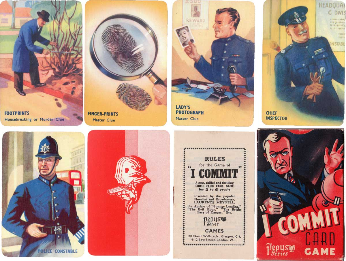 I Commit crime club card game invented by Laurence Meynell, Pepys Games, 1948