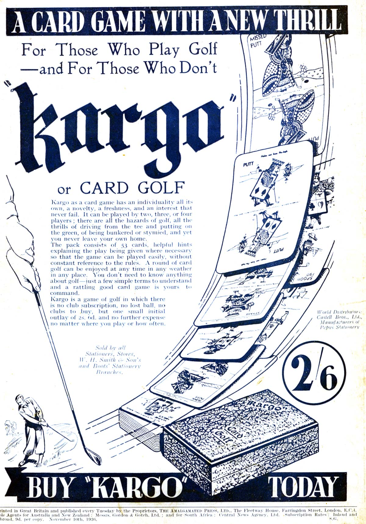 Kargo golf card game manufactured by Castell Brothers Ltd for Pepys Games, c.1936